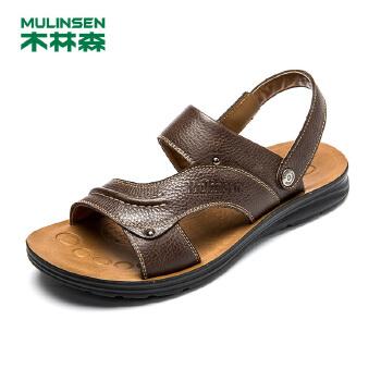 木林森男凉鞋夏季新款真皮透气鞋子 露趾套筒男士沙滩鞋21522079