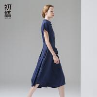 初语 2017夏季新品 简约净色系小V领短袖中长款女连衣裙