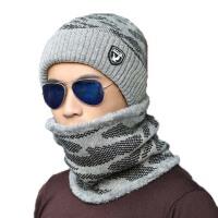 男士套头帽子围脖冬季青年户外护耳针织毛线帽保暖