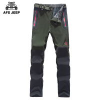 AFS JEEP战地吉普男士冲锋裤春装新品男装加绒防风防水户外登山冲锋裤