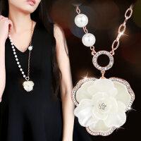 韩国时尚百搭气质配饰山茶花朵长款吊坠项链女 人造珍珠毛衣链