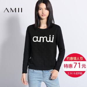Amii[极简主义]2017春装新品印花波点休闲长袖卫衣女21642530
