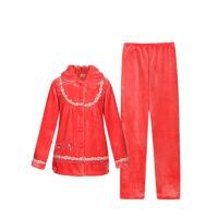 睡衣秋冬季长袖女士拼接款花边大码加厚珊瑚绒家居服套装