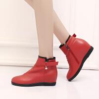 娜箐箐冬新款头层牛皮坡跟平底女鞋短筒靴高跟女式真皮女靴子