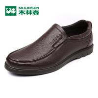 木林森男鞋  2017年新款上市商务正装休闲皮鞋 懒人套脚牛皮男士鞋子05177333