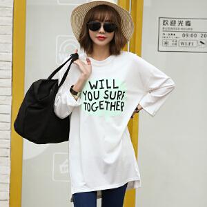 2017春夏新款开叉字母印花7分袖T恤中长款韩版女装BB17352