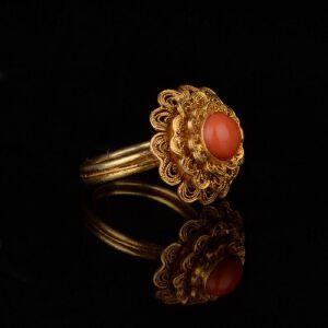 【只有一个】创汇时期银镀金花丝镶嵌珊瑚戒指