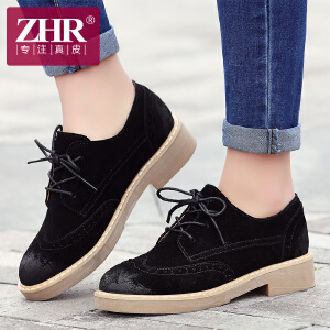 ZHR2017春季新款英伦布洛克单鞋真皮粗跟女鞋中跟休闲鞋小皮鞋A19
