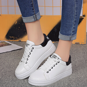 春季新款时尚圆头系带休闲鞋女平底浅口拼色板鞋低帮学生鞋小白鞋