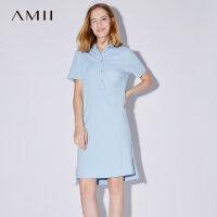 Amii[极简主义]2017夏装新款短袖直筒纯棉宽松大码POLO连衣裙胖mm