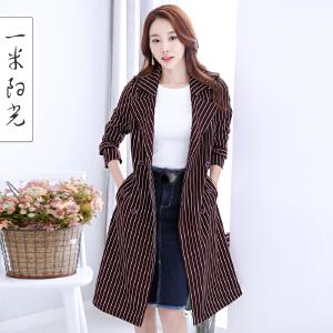 一米阳光 2017春装新款韩版双排扣风衣中长款英伦风条纹外套