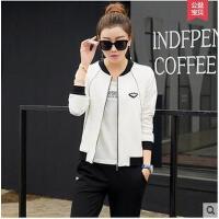 休闲三件套棒球服领韩版卫衣白色圆领休闲运动服运动套装女款大码