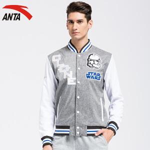 安踏男装运动外套春季开衫立领字母图案长袖休闲夹克外套15618644