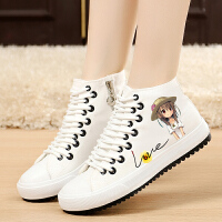 白领公社 帆布鞋 女春季白色韩版帆布鞋女高帮平底休闲女鞋平跟学生板鞋百搭布鞋