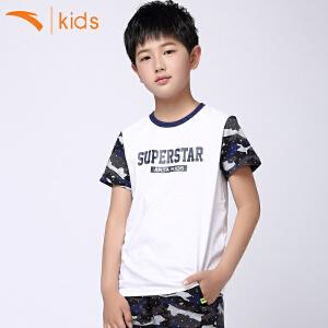 安踏童装儿童短袖t恤中大童纯棉T恤字母男孩针织衫圆领35628147