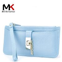 莫尔克(MERKEL)新款时尚女士真皮长款钱包拉链手拿包百搭甜美头层牛皮锁扣手提钱夹