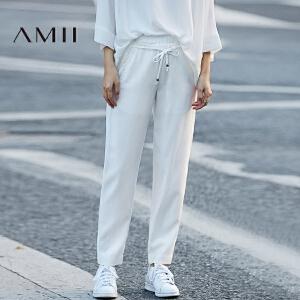 Amii[极简主义]2017春新女大码休闲橡筋腰抽绳插袋九分裤11780055