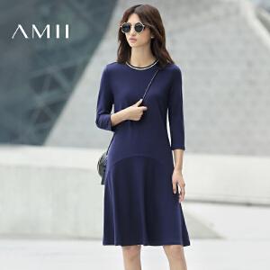 【AMII超级大牌日】[极简主义]2017新款秋装女装连衣裙气质圆领长袖A字中裙大码