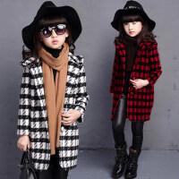 韩版连帽保暖中长款儿童毛呢外套 女童格子呢子大衣加厚中大童保暖上衣