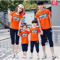 一家三口亲子装韩版母女潮棉情侣运动套装男女短袖全家运动服