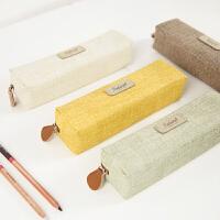 三年二班 创意简约铅笔盒学生纯色拉链笔袋 韩国男女孩PU文具袋