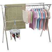 不锈钢晾衣架折叠晾衣杆凉衣架阳台挂衣服架子落地单双杆式晒衣架