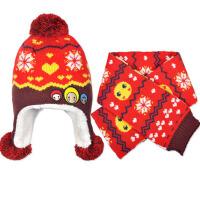 秋冬款宝宝帽子男童女童护耳儿童帽子围巾两件套装