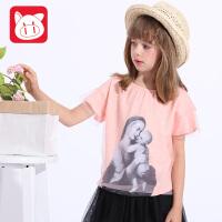 小猪班纳童装2017夏装新款中大童网纱T恤女童夏装上衣短袖T恤