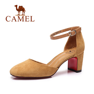 camel骆驼女鞋 2017春夏新款 时尚优雅 方头复古粗跟单鞋女