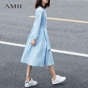 Amii[极简主义]2017春季新款大牌气质百褶纯棉纯色显瘦衬衫连衣裙