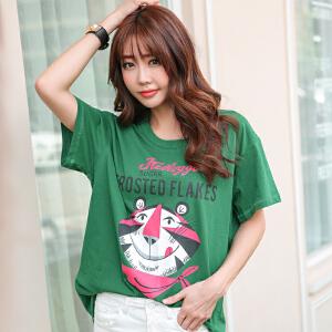 2017时尚韩版宽松女装春夏季新印花奥代尔棉短袖T恤BB17255