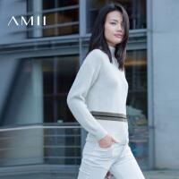 【AMII超级大牌日】[极简主义]2016冬简洁微高领落肩袖撞色条纹毛衣女11671819