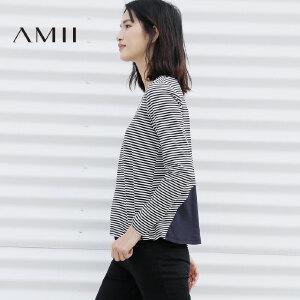 Amii[极简主义]2017春亲子装V领细条纹卡通印花弹棉质T恤11770804
