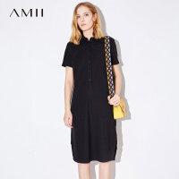 Amii[极简主义]2017夏装新款大码衬衫翻领半襟开衩连衣裙11732751