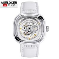 艾戈勒正品原装时尚皮带潮流男表 中性手表方形大表盘机械表女表