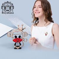 皇家莎莎Royalsasa韩版饰品人造水晶猴子胸针卡通动物胸花生肖别针西装配饰