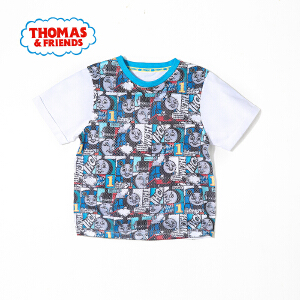 [满200减100]托马斯童装正版授权男童夏装时尚圆领纯棉印花短袖T恤