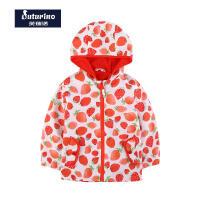 芙瑞诺童装女童外套春季新款草莓印花连帽中童夹克开衫