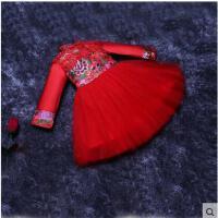 复古时尚精致刺绣女童旗袍公主连衣裙蓬蓬裙演出服气质立领加绒加棉长袖红色儿童礼服裙