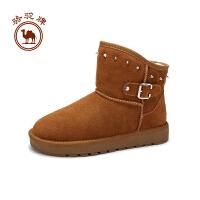 骆驼牌女靴子  冬季加绒保暖雪地靴舒适休闲女鞋简约套脚
