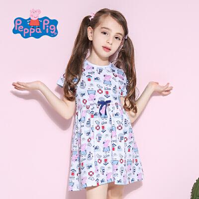 小猪佩奇套装女童2017夏新品时尚满印小猪纯棉短袖连衣裙舒适透气