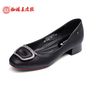 蜘蛛王女鞋低跟2017春季新款正品蝴蝶结粗跟女单鞋透气浅口鞋子女