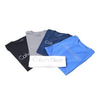 Calvin Klein  17新款男士纯棉圆领打底衫中性白色黑色蓝色纯色短袖T恤CK-403G223