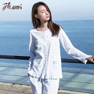 顶瓜瓜睡衣女纯棉春季新款 长袖圆领甜美可爱韩版印花公主睡衣家居服女套装