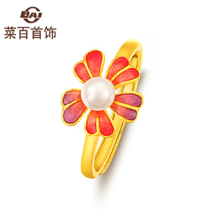 菜百首饰 黄金戒指 足金花型 珍珠烤彩花瓣戒指 红色 活圈 女士 计价