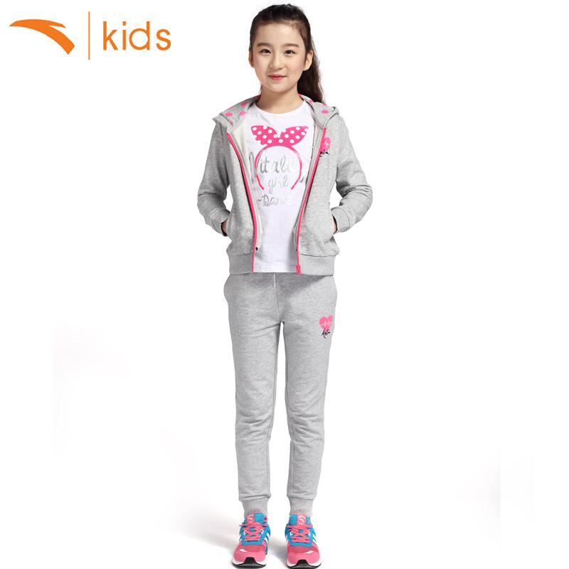 安踏童装儿童套装2017新款女童春款卫衣拉链上衣宝宝运动裤两件套
