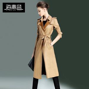 海青蓝新款纯色潮流个性长袖修身百搭中长风衣外套女6607