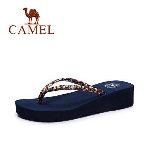 Camel/骆驼女鞋 2017夏季新款甜美碎花凉鞋女 沙滩休闲百搭人字拖