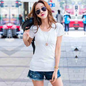 夏季纯色短袖T恤女韩版女装上衣t恤打底衫纯棉修身体恤小衫口袋潮ZY3839
