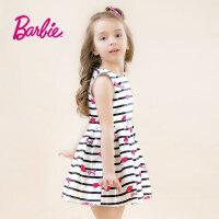 【满200减100】Barbie芭比女童装春季新款连衣裙甜美条纹背心裙中大童无袖公主裙连衣裙